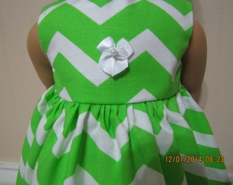 Free Shipping on all orders! 18 inch doll clothes made to fit american girl dolls, green chevron doll dress!