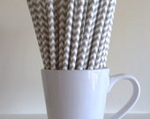 Gray Paper Straws Grey Chevron Party Supplies Party Decor Bar Cart Accessories Cake Pop Sticks Mason Jar Straws