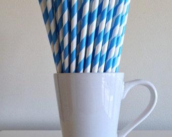 Sky Blue Striped Paper Straws Carolina Blue Party Supplies Party Decor Bar Cart Cake Pop Sticks Mason Jar Straw  Party Graduation