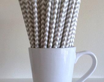Gray Paper Straws Grey Chevron Party Supplies Party Decor Bar Cart Cake Pop Sticks Mason Jar Straws Graduation