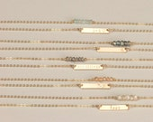 Bridesmaid Gift Idea: Mini Layering Necklaces with Tiny Bar Necklace (Personalized options) & Mini Gemstone Bar Necklace,  LN130_16_H, LN611