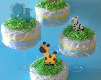 4 Diaper Cake Centerpieces - Safari Themed Diaper Cake