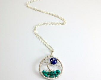 Winter Tree necklace, Sterling Silver with Turquoise gemstones and Lapis Lazuli full moon