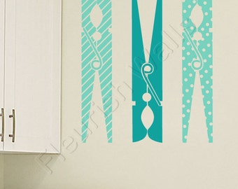Laundry Room Vinyl Decals - Stripes and Polka Dots Clothespins Laundry Room Wall Decals - Laundry Room Decals - Laundry Room Decor LQ002