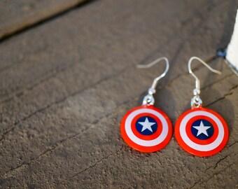 Captain America Earrings Dangle   Made from Red, White, and Blue Capt. America Shields   Marvel   Avengers