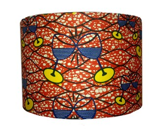 Orange African Drum Lampshade, Valentines Day Gift Idea, READY TO SHIP, Boho lampshade, Wedding Anniversary Gift, Detola and Geek