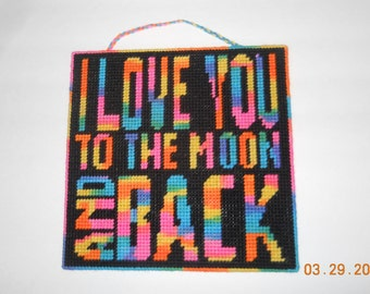 I love you Wall hanging in Plastic canvas