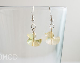 Duck earrings, Yellow ducky earrings, glass crystal earrings