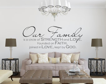 Family Wall Decal- Our Family - Family Quote - Family Wall Sign Vinyl Wall Decal - Christian Wall Decals