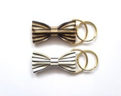 Leather Striped Bow Keychain - gold hardware