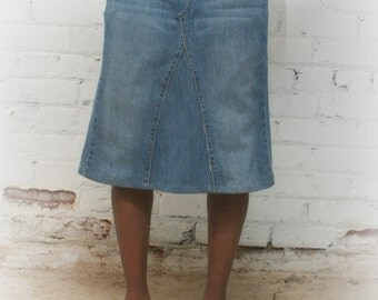 Womens custom knee length denim skirts sizes 0-24
