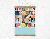 Abstract art print SUMMER- A4, A3 size / home decor / geometric print / abstract graphic pattern / inkjet print