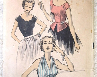 Vintage 50s Pinup Halter Top,. Peplum Blouse, Scallop Neck. Advance Sewing Pattern 6085. Size 14 Bust 32