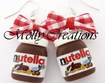 Nutella jars earrings polymer clay