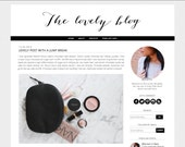 Lovely Blogger Theme - Blogger Template - Blogspot Template - Premade Blog Design -  Feminine Black White Fashion Lifestyle