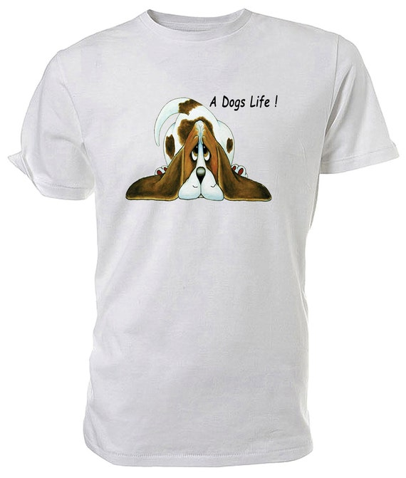 Basset Hound T shirt. classic round neck short sleeved choice of sizes and colours, A Dog's Life