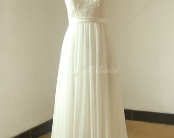 Open back chiffon lace wedding dress with deep v neckline and capsleeves