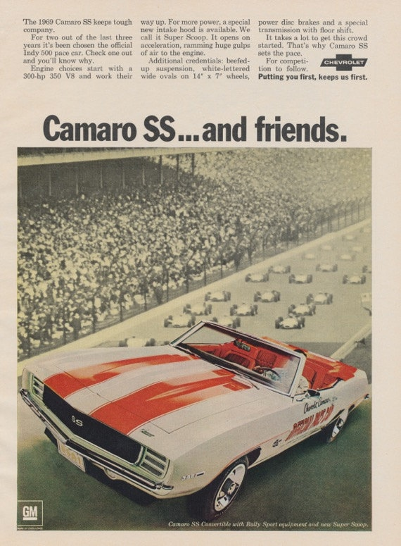1969 chevrolet camaro ss vintage car advertisement indy 500