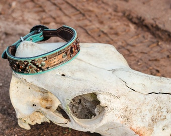 Custom Dog Collar // Leather Dog Collar // Navajo and Crystals // Southwestern // Western