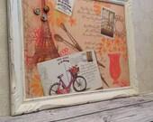 Tableau d'affichage babillard aimanté recouvert tissu Paris bicyclette carte postale organisation bureau pour femme fille orange crème
