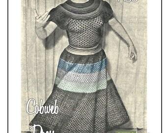 1950's Ladies Cobweb Dress Knitting Pattern  - PDF Knitting Pattern - PDF Instant Download