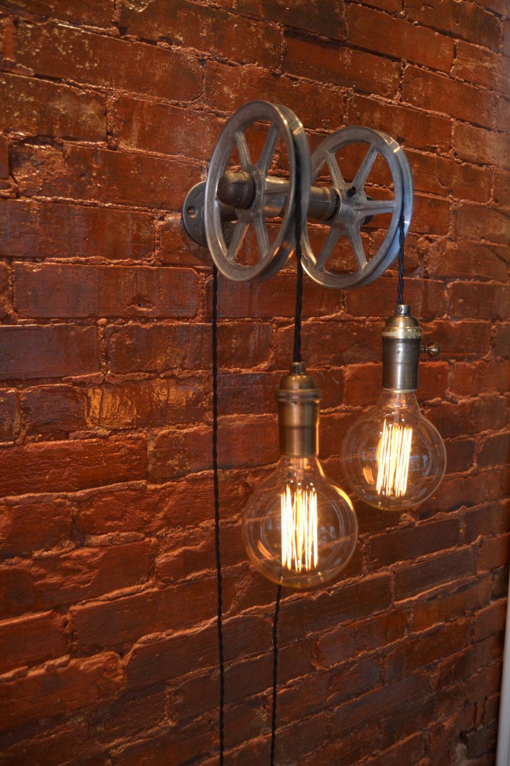 hanging light pulley light wall light industrial. Black Bedroom Furniture Sets. Home Design Ideas
