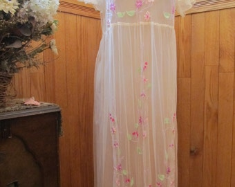 Sale - Sale Mesh Embroidered Gown April Cornell