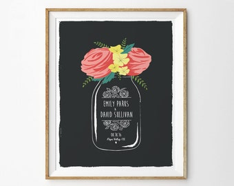 Floral Anniversary Print, Roses Anniversary Wall Art,  Mason Jar Anniversary Gift, Gift for Newlyweds, Wedding Gift - Unframed