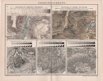 1895 Topography Map, Antique Print, Terrain, Land Relief, Elevation, Slope, Physical Geography, Geomorphology, Cartographic Relief Depiction