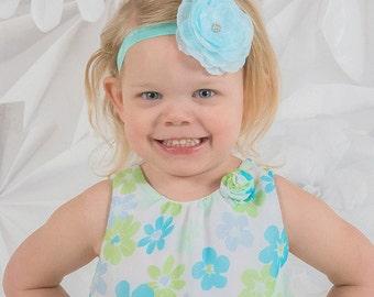 Baby Headband Light Blue Layered Flower Rhinestone Center Spring Summer Beach  Gift or Photo Prop - Newborn Infant Toddler Girl Adult