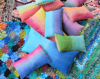 Vintage Linen tropical Lime Green Pillow Ombre hand dyed Cushion 40x60 cm 16x24 inches