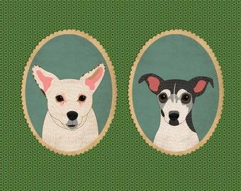 Customized dog portraits. Two pets portraits.