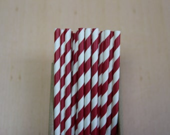 25 burgundy striped paper straws (PS0024) - with printable DIY flags