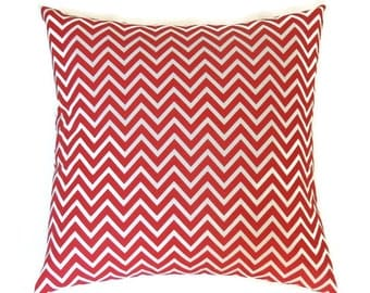 Red Chevron Pillow, Red 20x20 Pillow Cover, Labor Day, Patriotic Summer Decor, Lake Beach House Pillow Decor, Cosmo Lipstick White