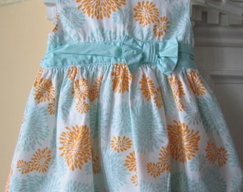 Sundress Baby Girl's 3 Month LAURA ASHLEY Designer Floral Turquoise Pumpkin