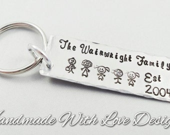 Our Family Hand Stamped Keyring