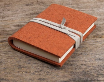 Notebook felt, brown, leather string book blank paperblank journal sketch guest recipe Gurt for friends colleagues family friend girl