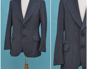 "Vintage jacket, Men's suit style blazer, 70s grey / blue striped, Hepworths single breasted tailored jacket, stylish notch lapels, 42"" chest"