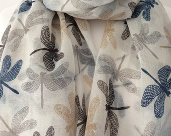 Cream Dragonfly Scarf, Ivory Wrap Shawl, Dragonfly Print Scarf, Blue and Black Dragonflys Sarong