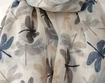 Cream Dragonfly Scarf, Ivory Wrap Shawl, Dragonfly Print Scarf, Blue and Black Dragonflys Sarong