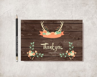 Thank You Card Printable, Rustic Thank you Card, Woodland Thank You Card, Antlers Thank you Note, Printable Thank you Cards, Digital File