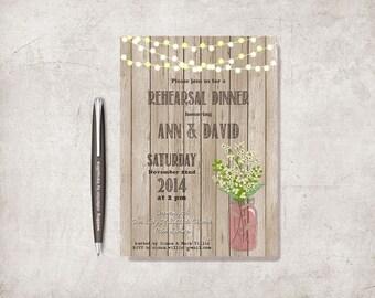 Rustic Wedding Rehearsal Dinner Invitation Printable, Wedding Rehearsal Invitation, Babys Breath Mason Jar Wedding Rehearsal Invitation