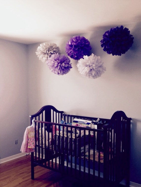 Wall Decor Tissue Paper : Items similar to nursery pompoms hanging tissue paper