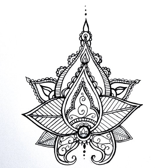 lotus mandala temporary tattoo henna style hand drawn original. Black Bedroom Furniture Sets. Home Design Ideas