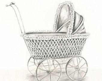 Art Print of Original Pencil Drawing of an antique Doll Stroller