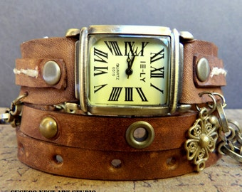 Vintage brown Leather wrap around watch,  womens watch, Bracelet Watch, Chain watch, Fashion, Gift