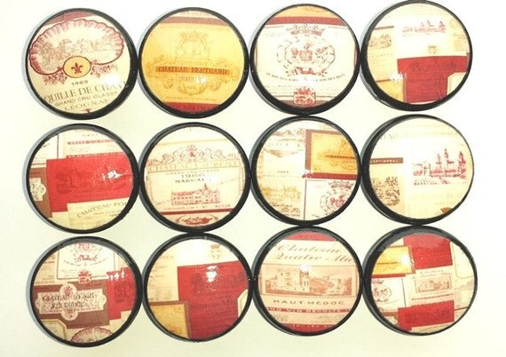 Wine labels kitchen cabinet knobs red gold by - Labels for kitchen cabinets ...