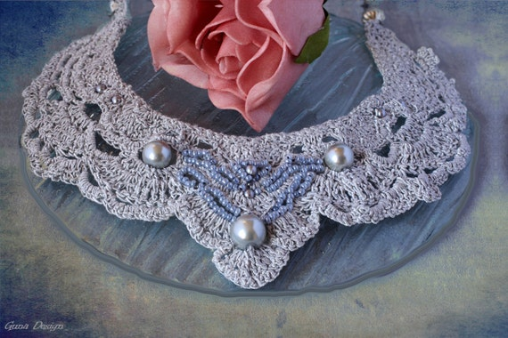 Silver Color Crochet Necklace with Beads by GunaDesign