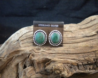 Green Malachite Earrings Sterling Silver Signed Piece HandcraftedSWDesigns