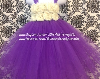 Purple Flower Girl Tutu Dress, Purple Tutu Dress with Ivory Flowers, Purple Tutu Dress, Flower Girl Dress Purple, Purple Birthday Tutu Dress